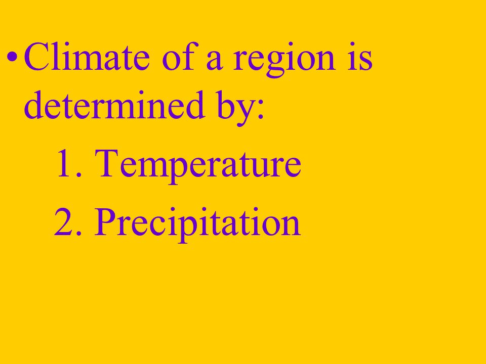 Climate of a region is determined by:
