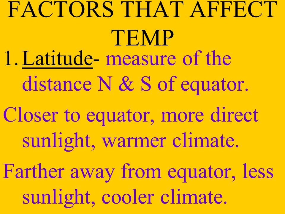 FACTORS THAT AFFECT TEMP