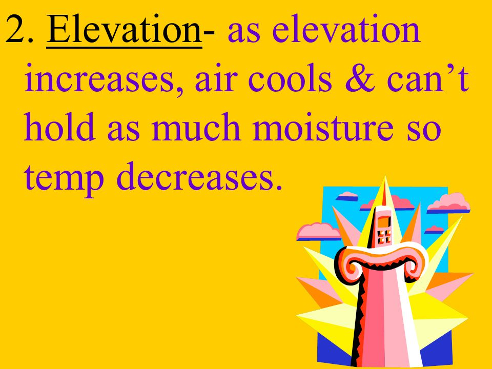 2. Elevation- as elevation increases, air cools & can't hold as much moisture so temp decreases.