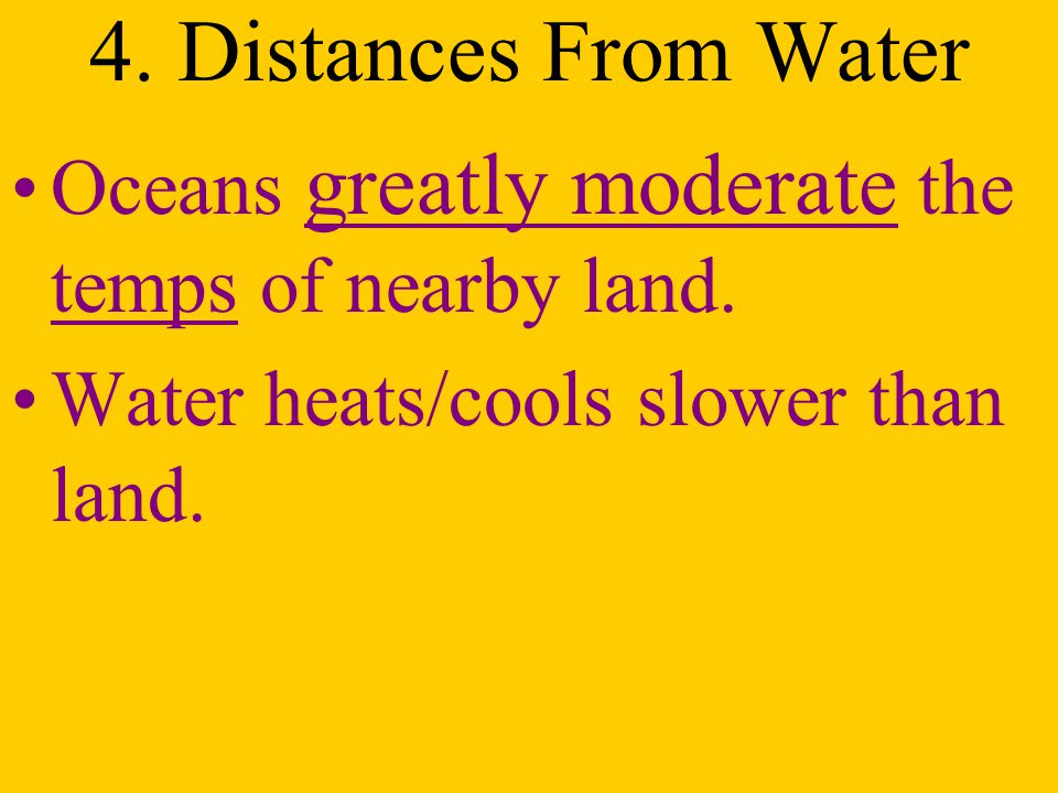 4. Distances From Water Oceans greatly moderate the temps of nearby land.