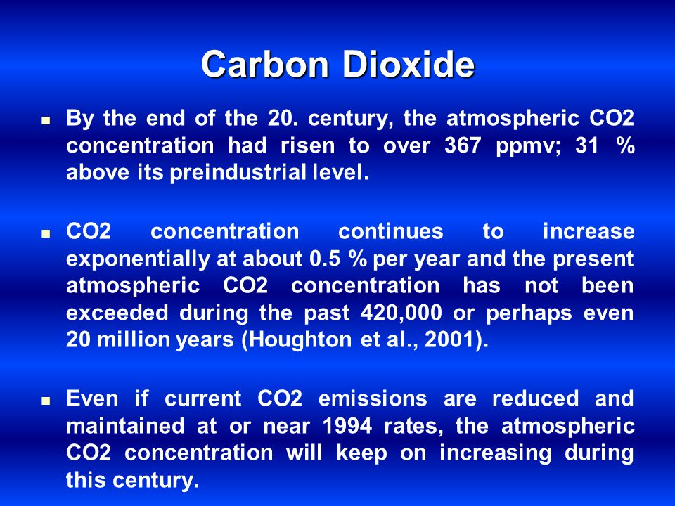 Carbon Dioxide By the end of the 20. century, the atmospheric CO2 concentration had risen to over 367 ppmv; 31 % above its preindustrial level.