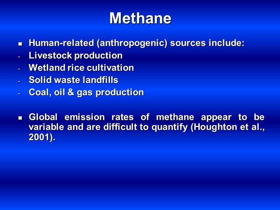 Methane Human-related (anthropogenic) sources include: