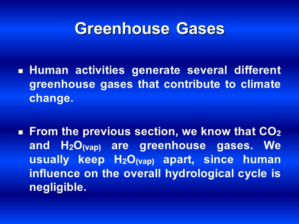 Greenhouse Gases Human activities generate several different greenhouse gases that contribute to climate change.