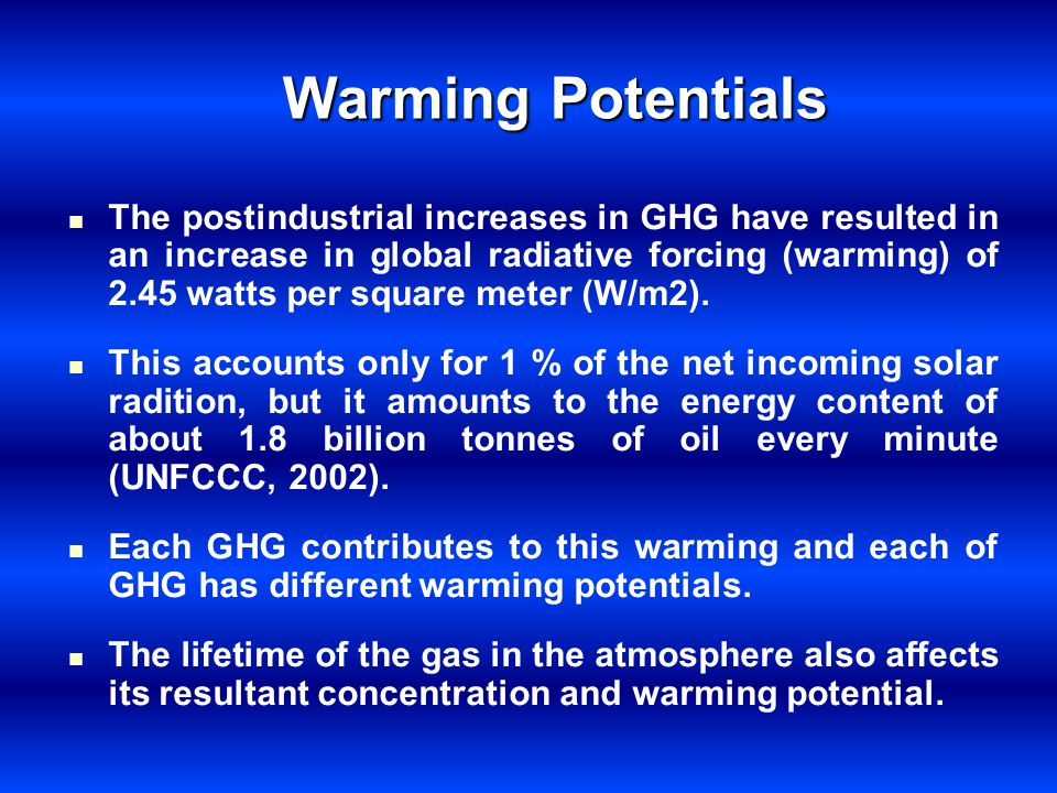 Warming Potentials