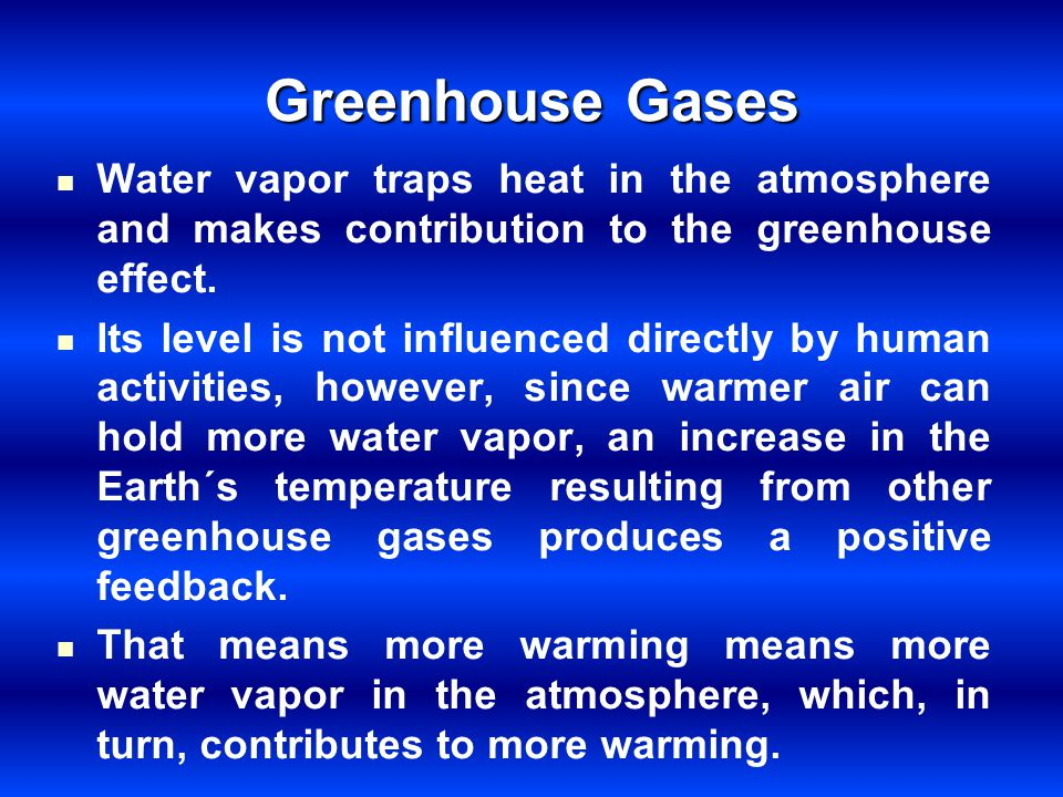 Greenhouse Gases Water vapor traps heat in the atmosphere and makes contribution to the greenhouse effect.