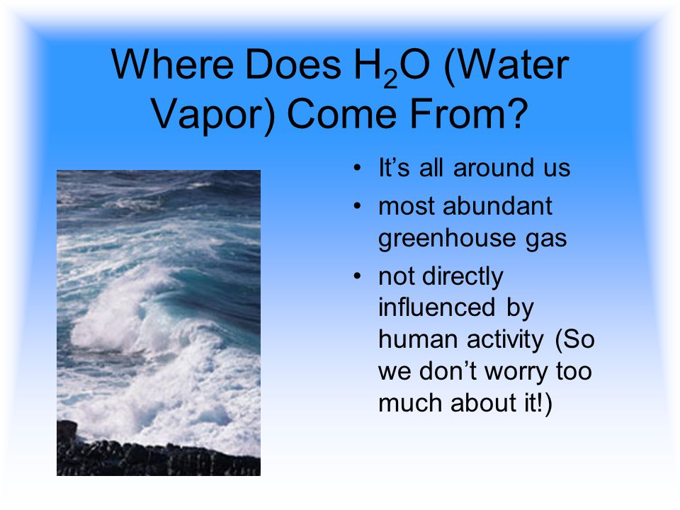 Where Does H2O (Water Vapor) Come From