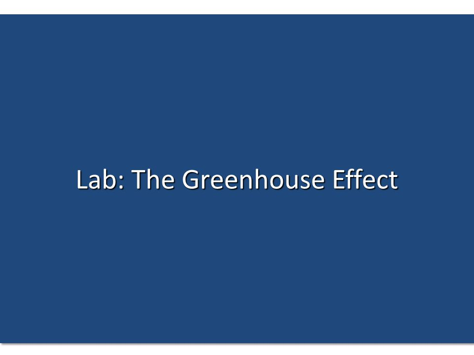 Lab: The Greenhouse Effect