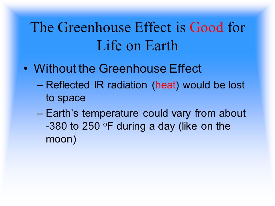 The Greenhouse Effect is Good for Life on Earth