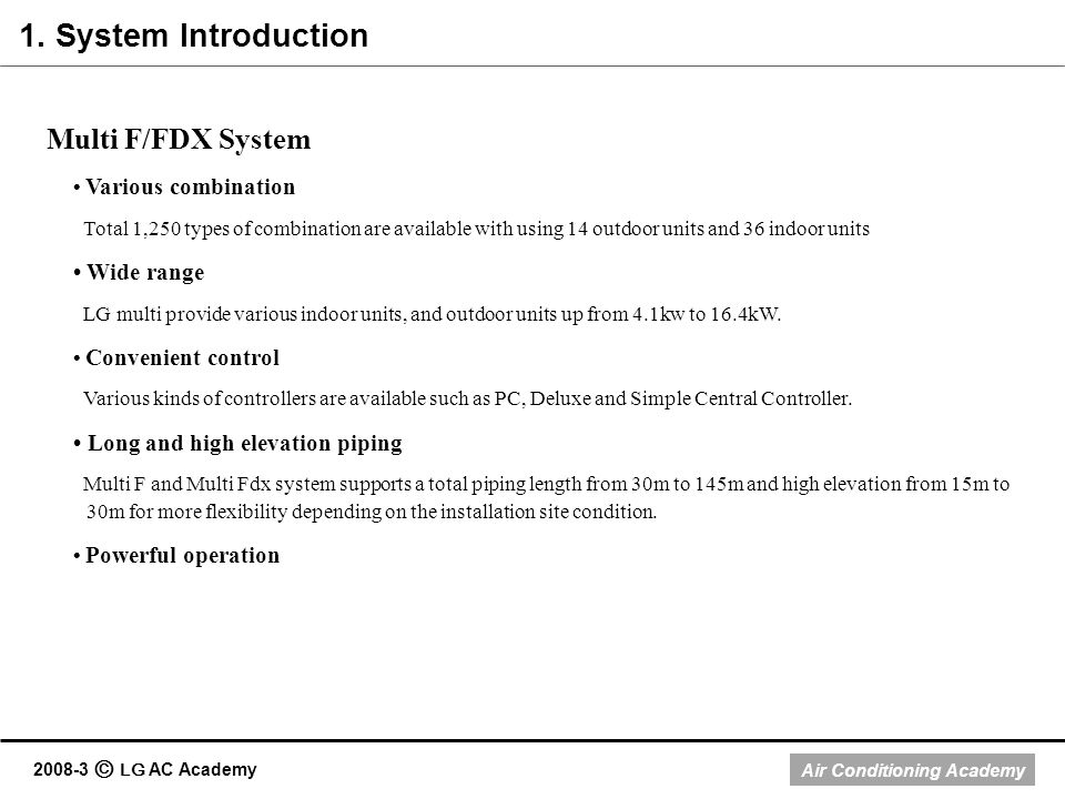 1. System Introduction Multi F/FDX System • Wide range