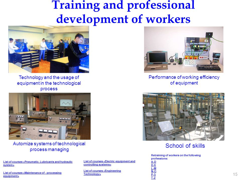 Training and professional development of workers