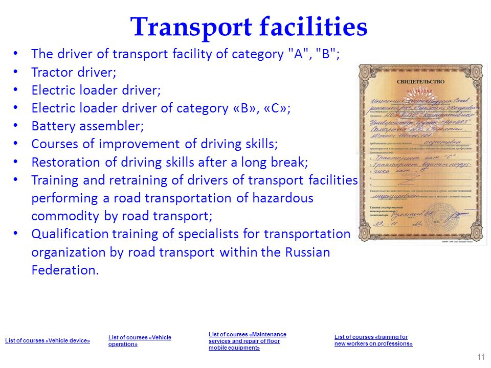 Transport facilities The driver of transport facility of category A , B ; Tractor driver; Electric loader driver;
