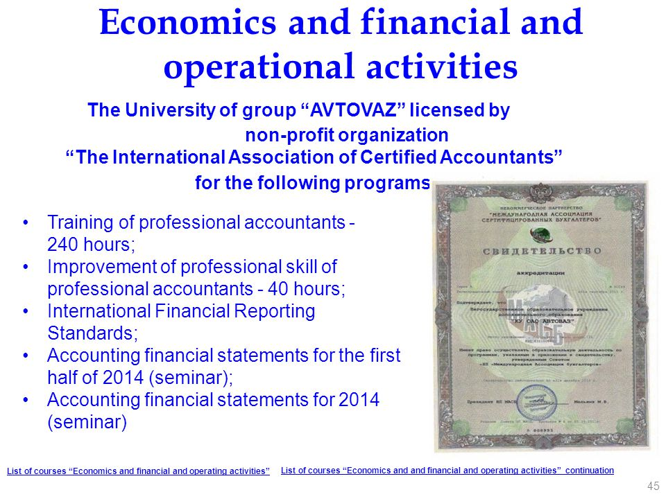Economics and financial and operational activities
