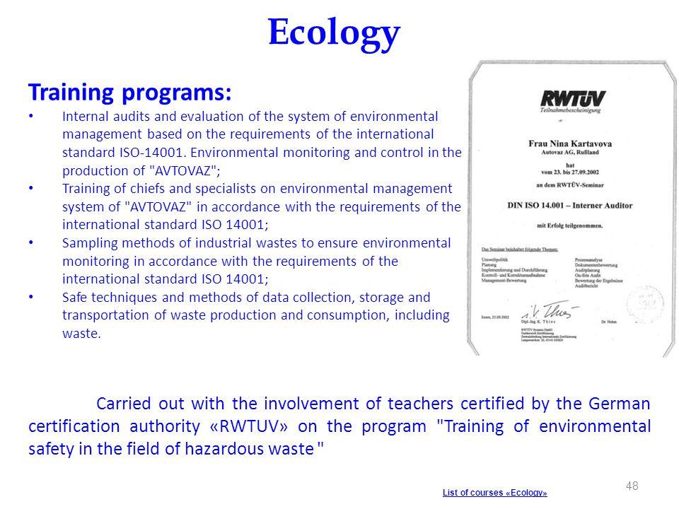 Ecology Training programs: