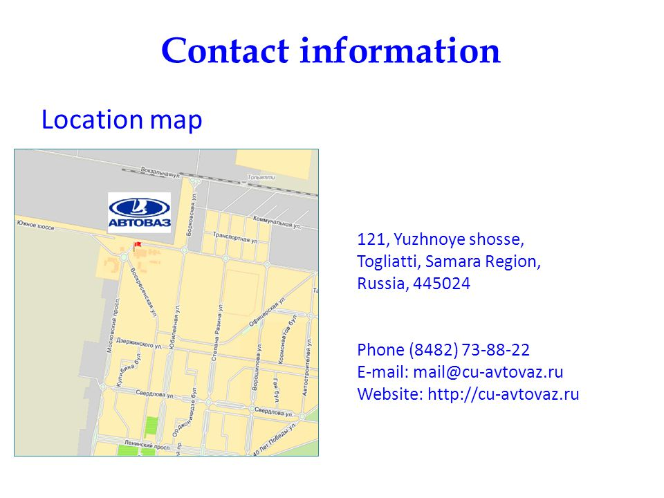 Contact information Location map.