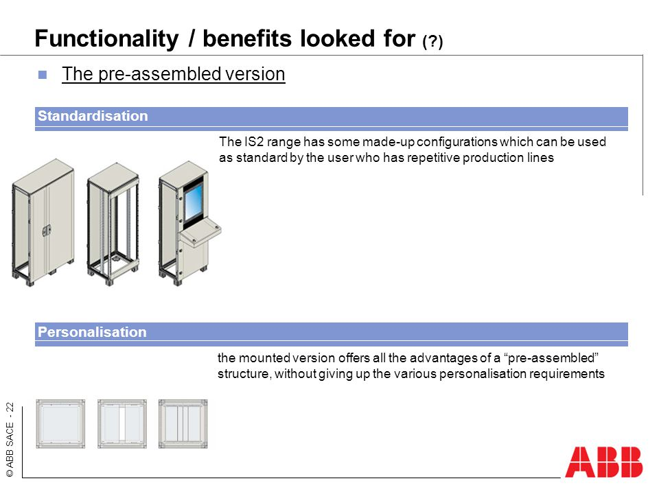 Functionality / benefits looked for ( )