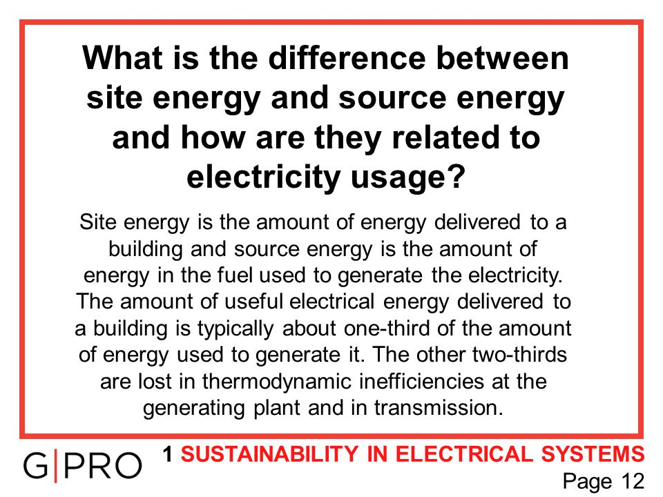 What is the difference between site energy and source energy and how are they related to electricity usage