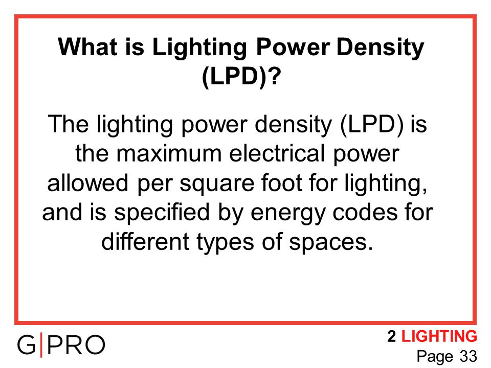 What is Lighting Power Density (LPD)