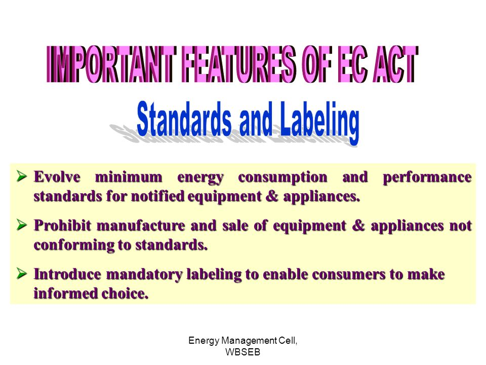 IMPORTANT FEATURES OF EC ACT