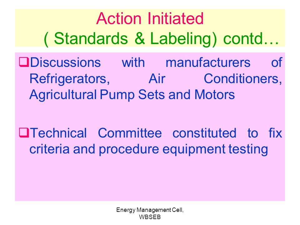 Action Initiated ( Standards & Labeling) contd…