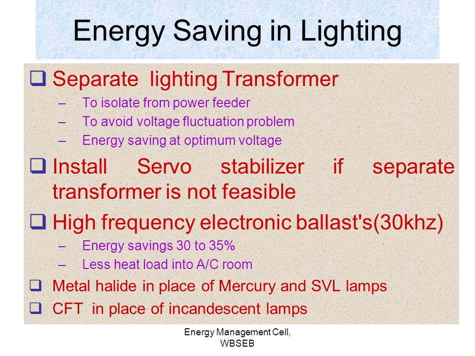 Energy Saving in Lighting