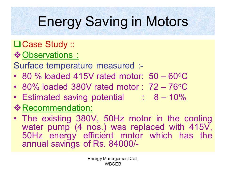 Energy Saving in Motors