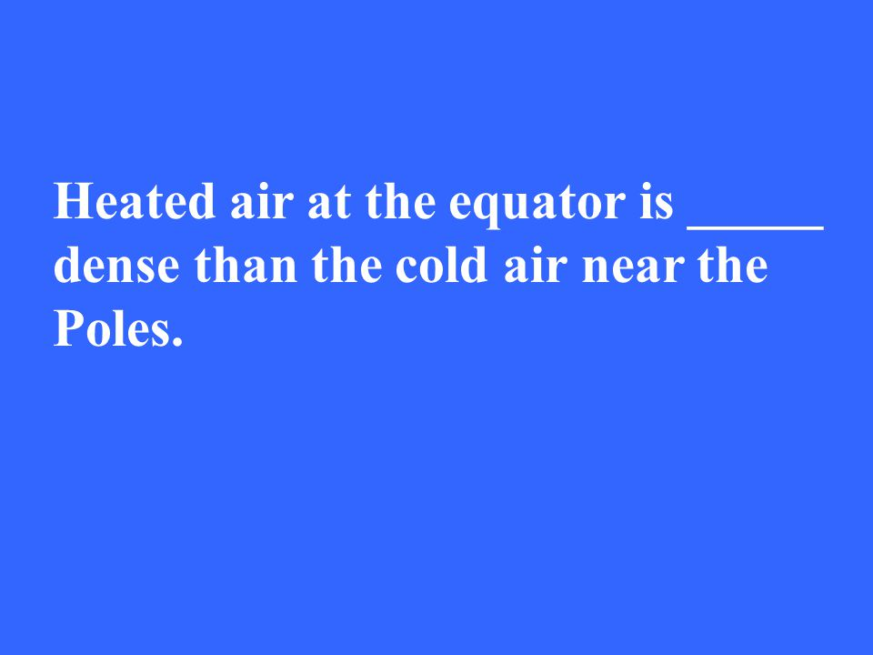 Heated air at the equator is _____