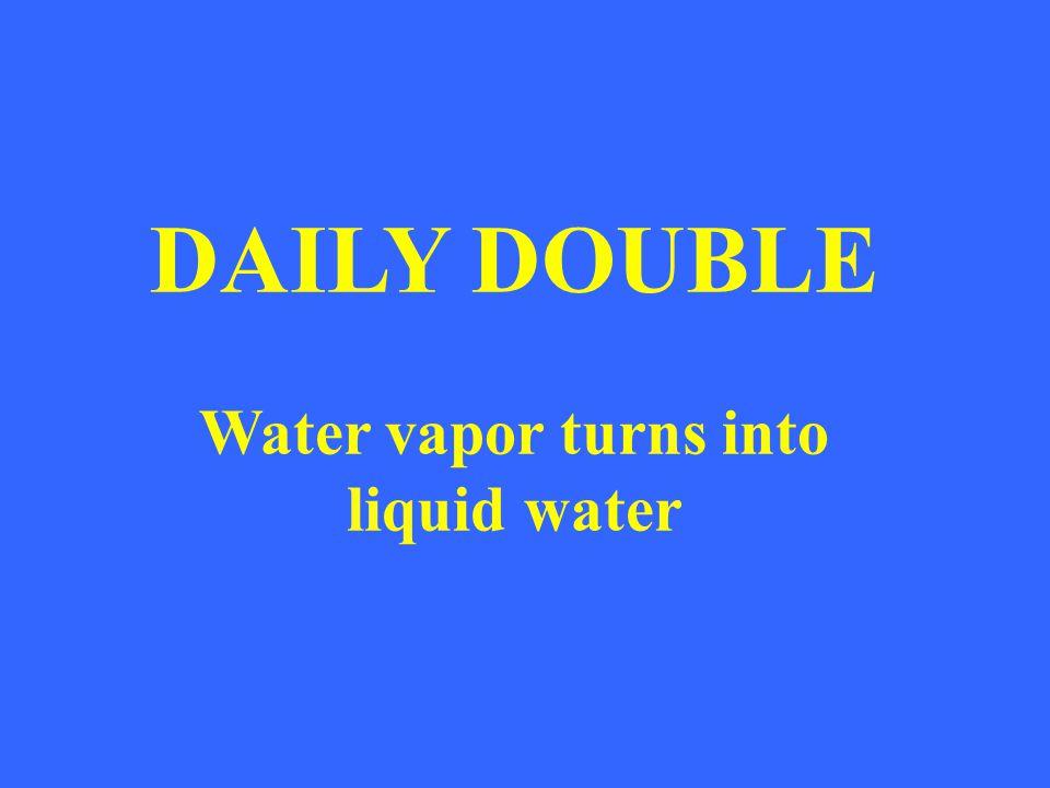 Water vapor turns into liquid water