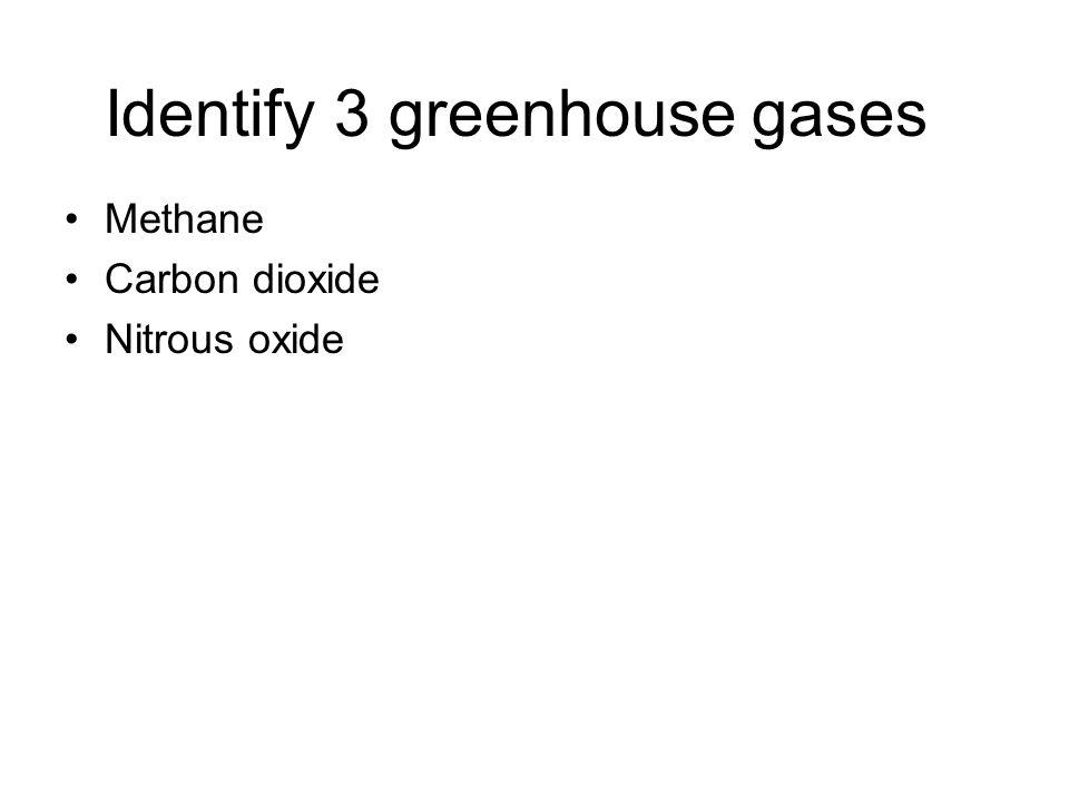 Identify 3 greenhouse gases