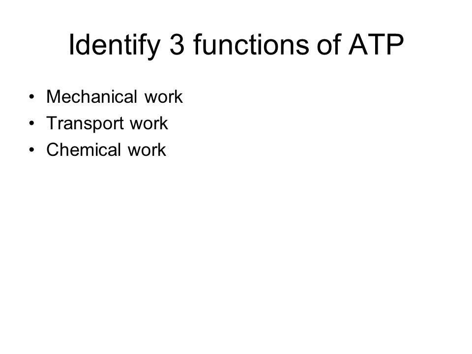 Identify 3 functions of ATP