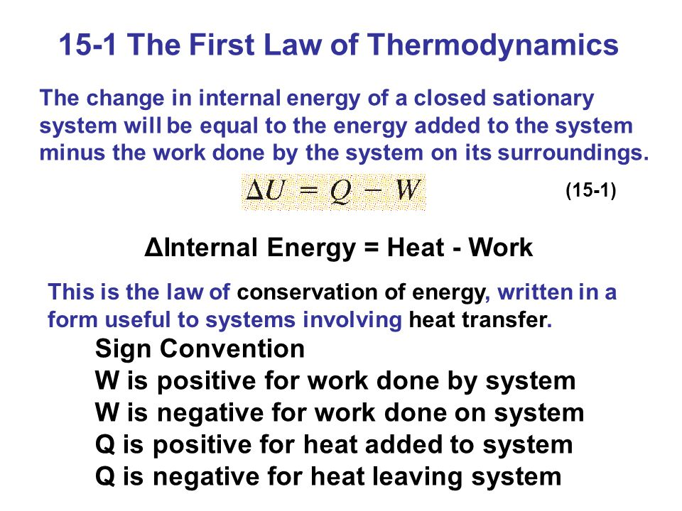 15-1 The First Law of Thermodynamics