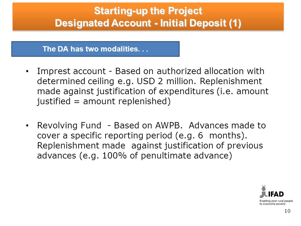 Starting-up the Project Designated Account - Initial Deposit (2)