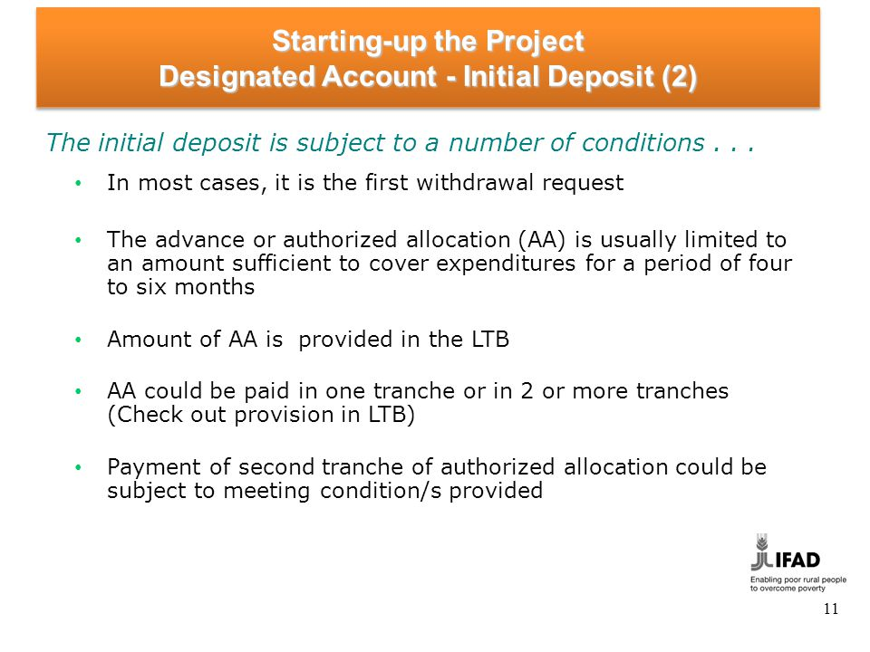 Starting-up the Project Designated Account - Initial Deposit (3)