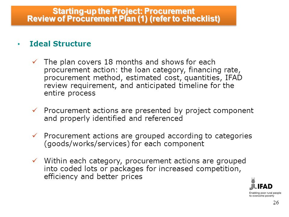 Starting-up the Project: Procurement Review of Procurement Plan (2)