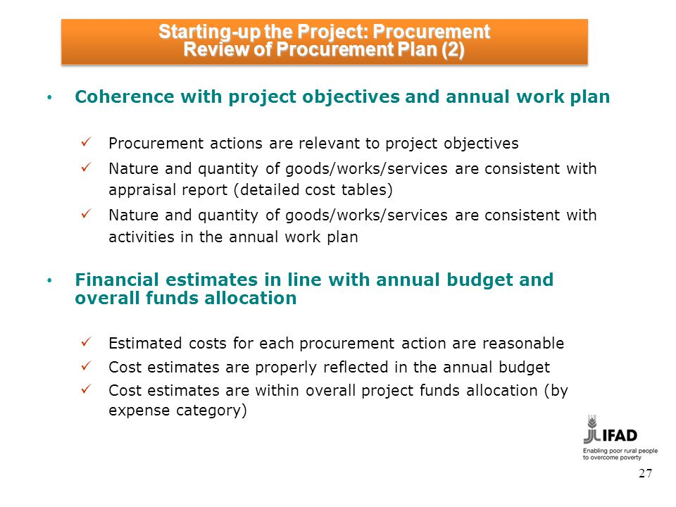 Starting-up the Project: Procurement Review of Procurement Plan (3)
