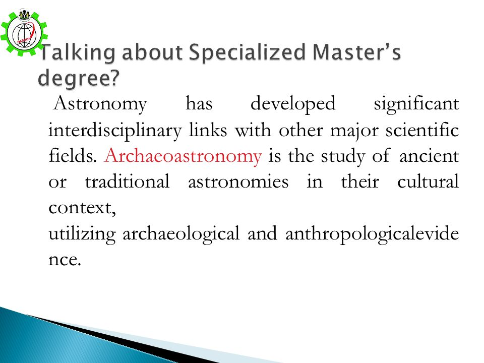 Talking about Specialized Master's degree