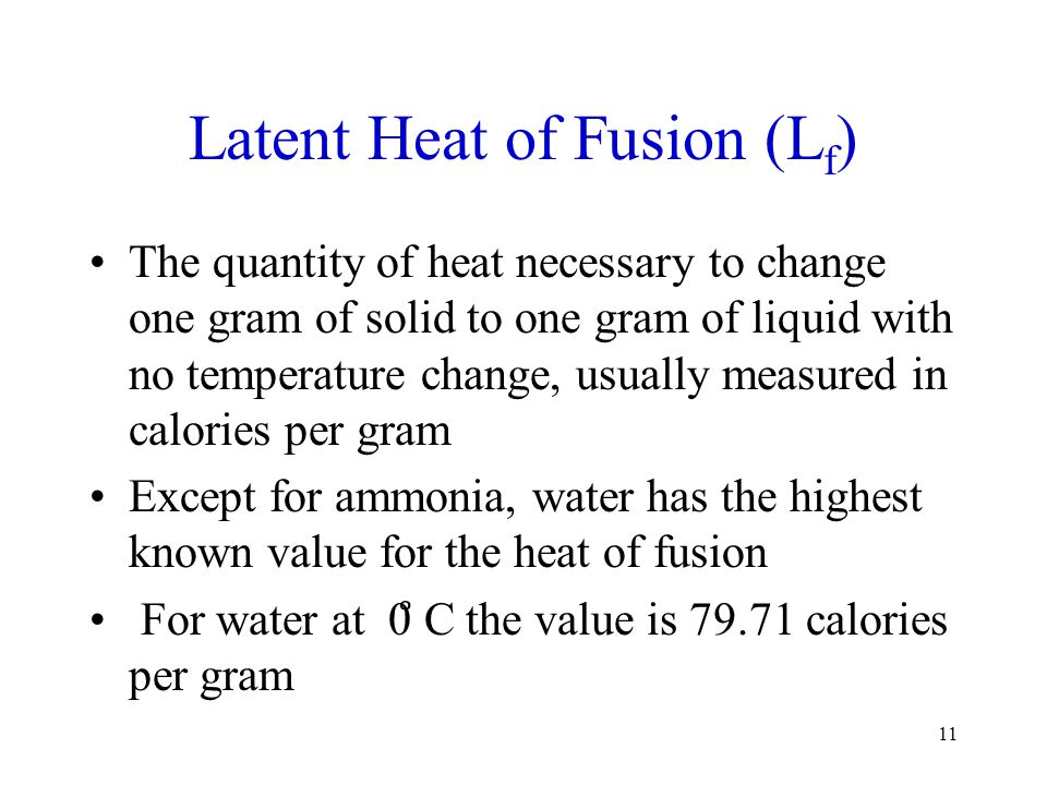 Latent Heat of Fusion (Lf)