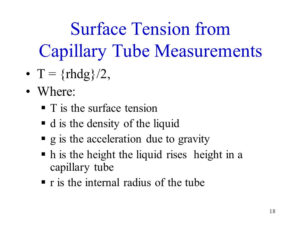 Surface Tension from Capillary Tube Measurements