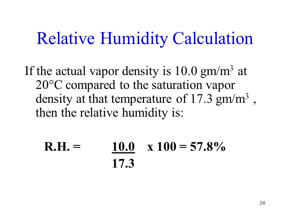 Relative Humidity Calculation