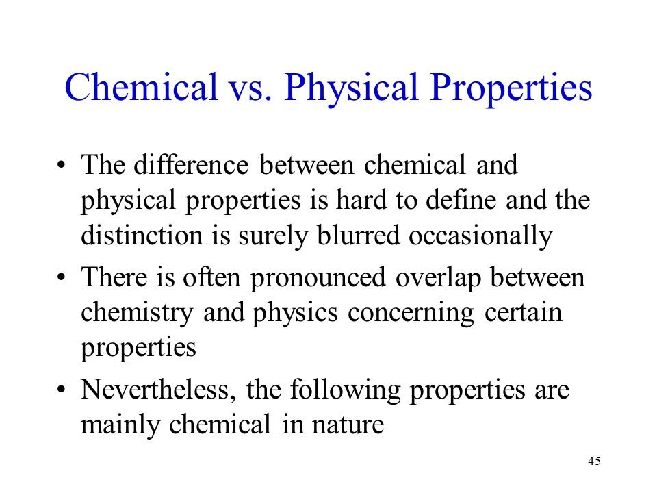 Chemical vs. Physical Properties