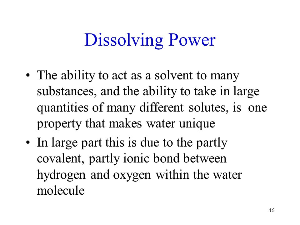 Dissolving Power