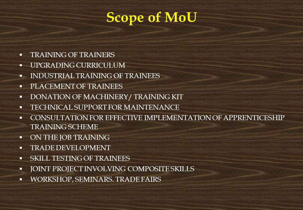 Scope of MoU TRAINING OF TRAINERS UPGRADING CURRICULUM