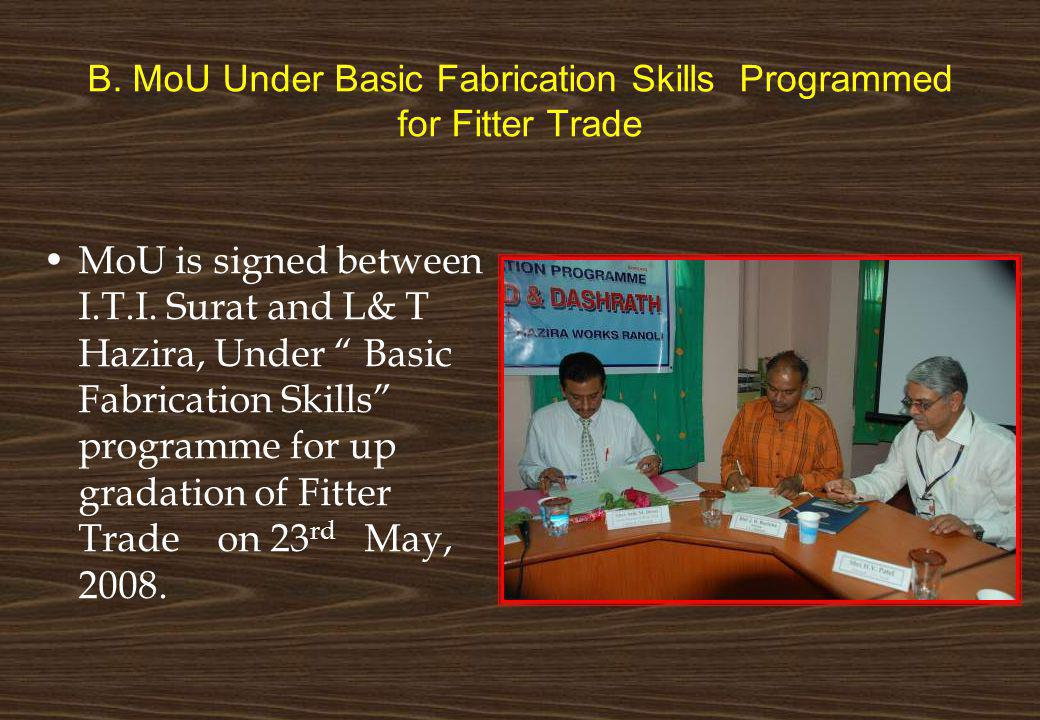 B. MoU Under Basic Fabrication Skills Programmed for Fitter Trade