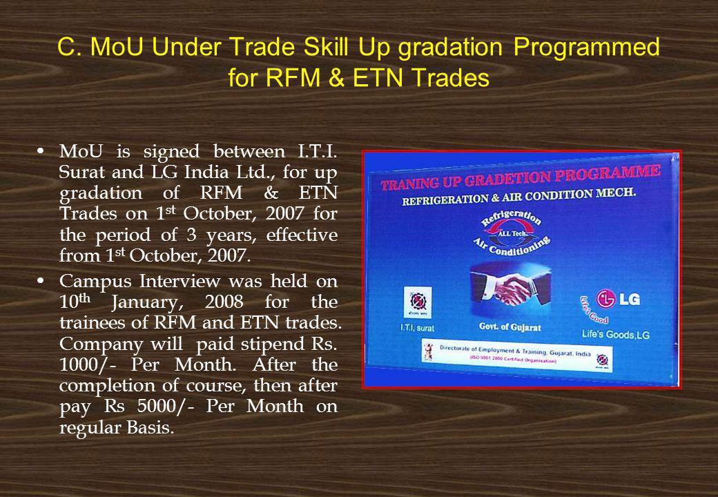 C. MoU Under Trade Skill Up gradation Programmed for RFM & ETN Trades
