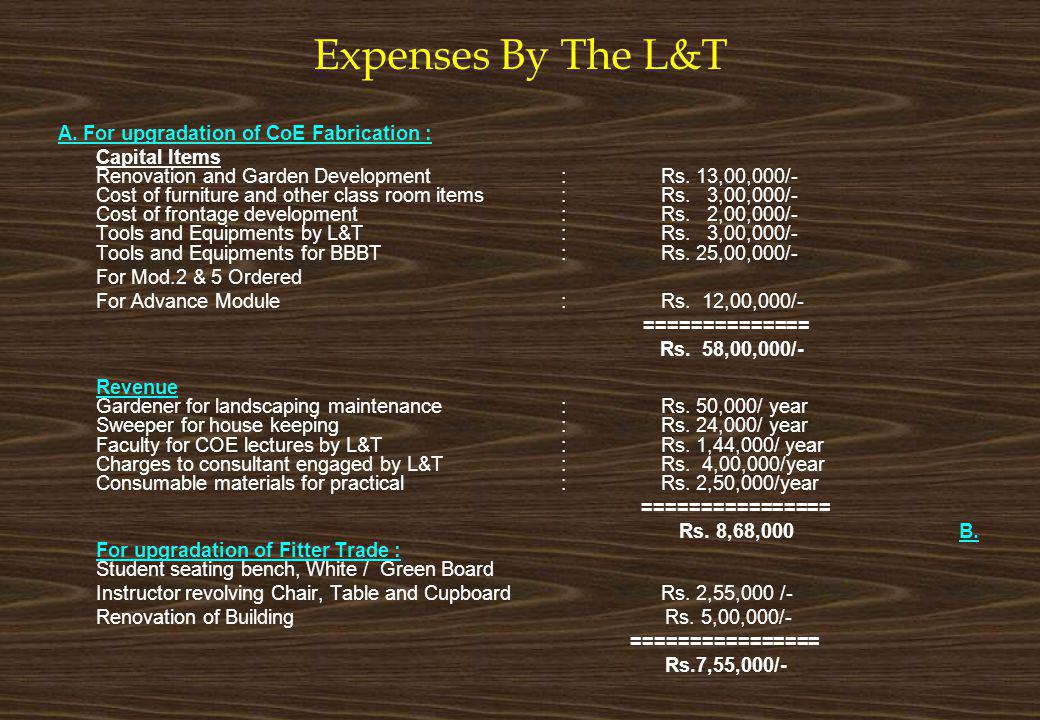 Expenses By The L&T A. For upgradation of CoE Fabrication :