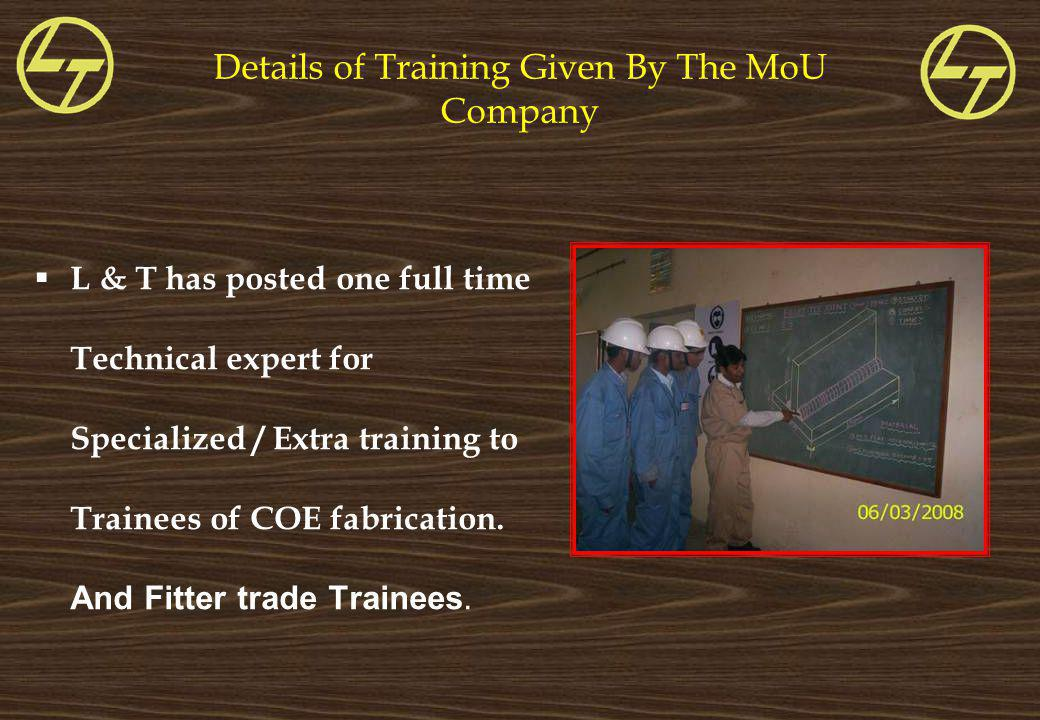 Details of Training Given By The MoU Company