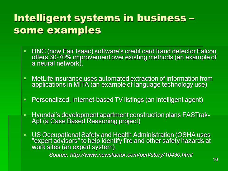 Intelligent systems in business – some examples