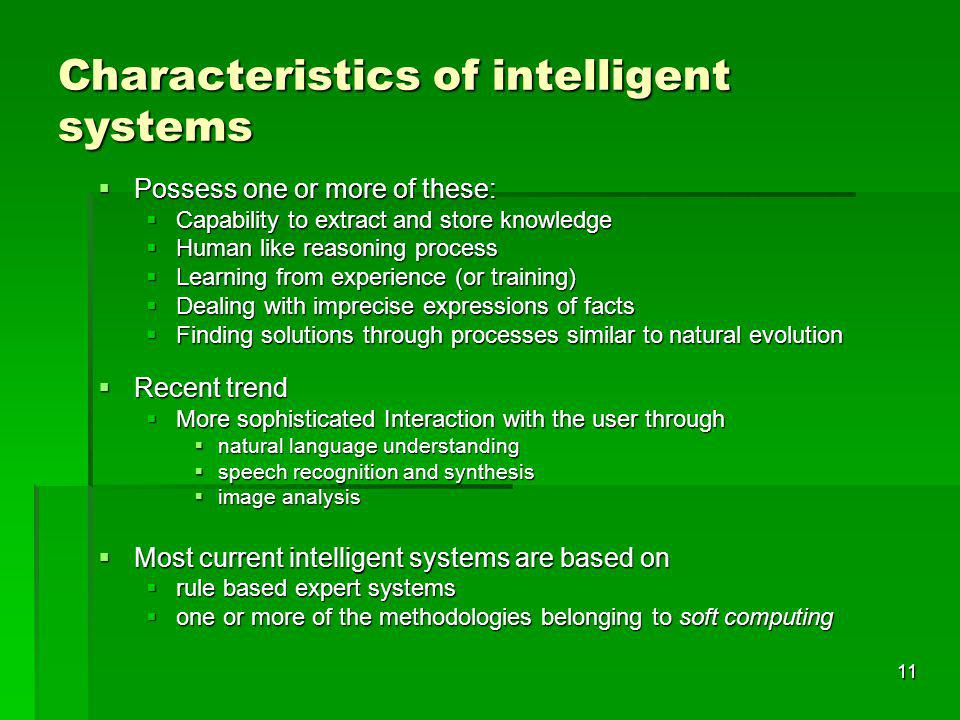 Characteristics of intelligent systems