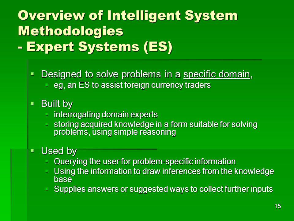 Overview of Intelligent System Methodologies - Expert Systems (ES)