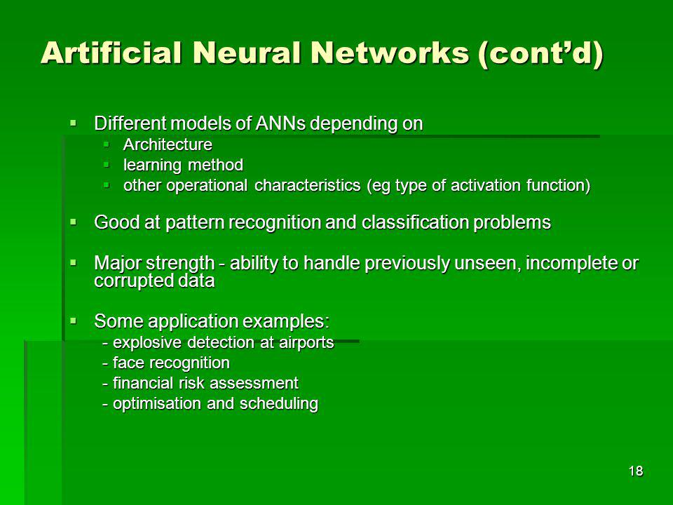Artificial Neural Networks (cont'd)