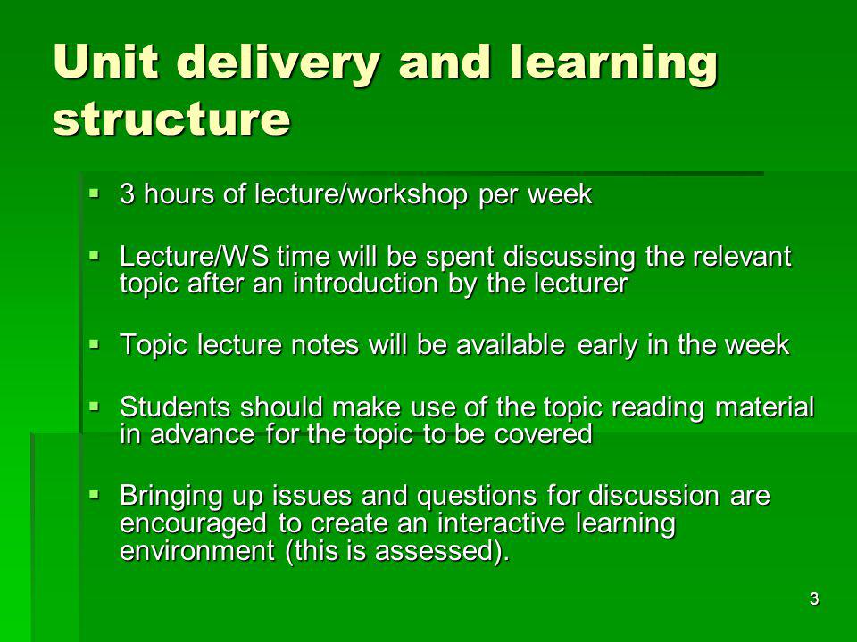 Unit delivery and learning structure